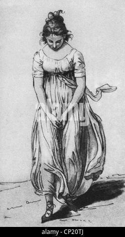 Schadow, Johann Gottfried, 20.5.1764 - 27.1.1850, deutscher Bildhauer und Grafiker, Werke, Tänzerin, in Zeichnung, - Stockfoto