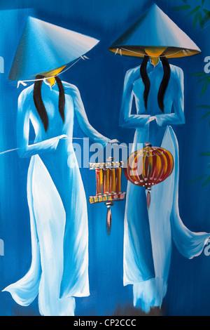 Gemälde von zwei vietnamesischen Frauen mit Laternen, Vietnam - Stockfoto
