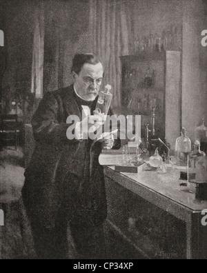 Louis Pasteur, 1822-1895, in seinem Labor. Französischer Chemiker und Mikrobiologe. - Stockfoto