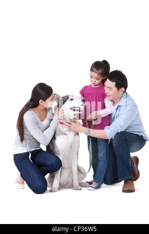 Familie mit einem Husky Hund spielen - Stockfoto