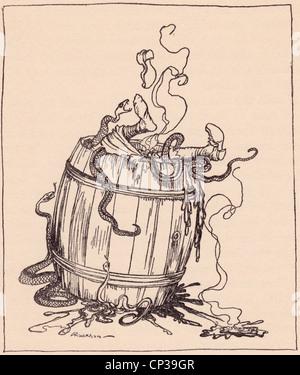 Die böse Schwiegermutter wurde gelegt in ein Fass voller kochendem Öl und giftigen Schlangen. Grimms Märchen. Die - Stockfoto