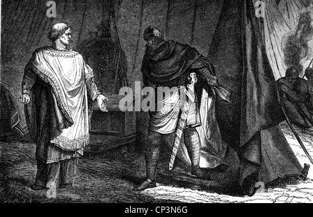 Otto I. 'der Große', 23.11.912 - 7.5.973, Heiliger römischer Kaiser 962 - 973, volle Länge, mit Friedrich, Erzbischof - Stockfoto