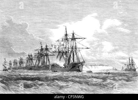 Veranstaltungen, preußisch-französischen Krieg 1870-1871, naval Warfare, französische Flotte vor Helgoland, Holzstich, - Stockfoto