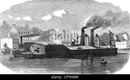 Veranstaltungen, preußisch-französischen Krieg 1870-1871, naval Warfare, französische Kanonenboot auf dem Fluss - Stockfoto