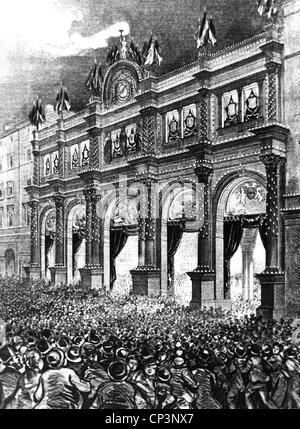Veranstaltungen, preußisch-französischen Krieg 1870-1871, Sieg feiern, Beleuchtung für den Frieden feiern am Stuttgarter - Stockfoto