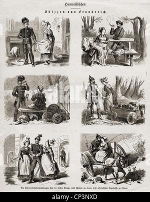 """Veranstaltungen, preußisch-französischen Krieg 1870-1871, Presse, der cetches aus Frankreich"""", Holzstich 1871, Additional - Stockfoto"""