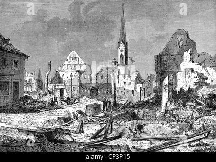 Veranstaltungen, preußisch-französischen Krieg 1870-1871, Schlacht von Spichern, 6.8.1870, bombardement von Kehl, - Stockfoto