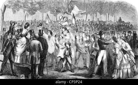 Veranstaltungen, preußisch-französischen Krieg 1870-1871, Ausbruch, patriotische Manifestation nach der Kriegserklärung, - Stockfoto