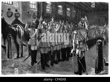 Militär, Deutschland, Preußen, Mitglieder der Preußischen Garde du Corps Regiment während der Vereidigung, holzstich - Stockfoto