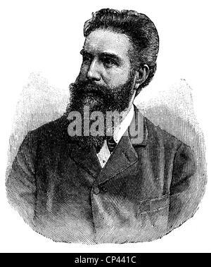 Roentgen, Wilhelm Conrad, 27.3.218 - 10.2.1923, deutscher Physiker, Porträt, Holzgravur, Ende des 19. Jahrhunderts, - Stockfoto