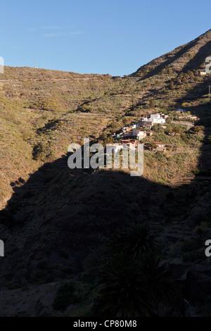 Der obere Teil des Dorf Masca im Barranco von Masca auf des Teno-Massivs in Teneriffa, Kanarische Inseln, Spanien - Stockfoto
