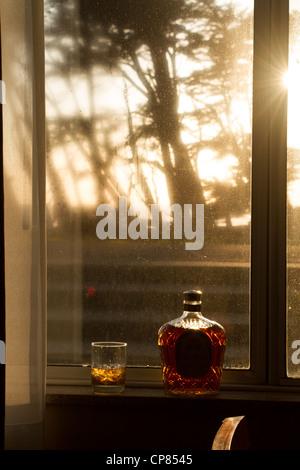 Whisky bei Sonnenuntergang in Fort Bragg, Kalifornien - Stockfoto