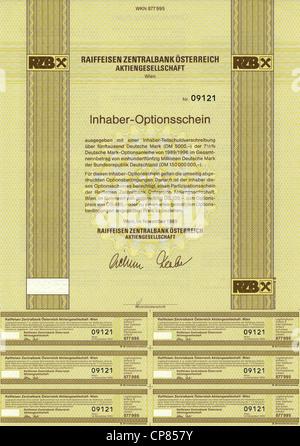 Erträgnissen, Sachenrecht-Optionsschein, Österreichische Schilling, D-Mark, Raiffeisen Zentralbank Österreich Aktiengesellschaf - Stockfoto