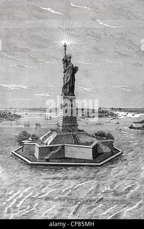 Freiheitsstatue in New York, historische Gravuren, 19. Jahrhundert, Die Freiheitsstatue, New Yorker Freiheitsstatue - Stockfoto