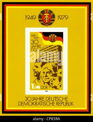 Historische Briefmarken der DDR, politische Motive, Historische Briefmarke der DDR, 30 Jahre Deutsche Volkskammerwahlen - Stockfoto