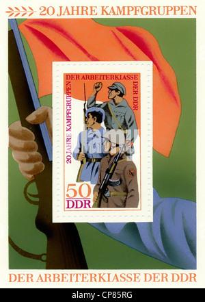 Historische Briefmarken der DDR, politische Motive, Historische Briefmarke der DDR, 20 Jahre Kampfgruppen, Deutschen - Stockfoto