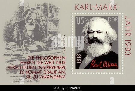 Historische Briefmarken der DDR, politische Motive, Historische Briefmarke der DDR, Karl-Marx-Jahr, Deutsche Volkskammerwahlen - Stockfoto