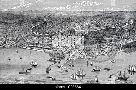 Blick auf die Stadt von Chicago und Lake Michigan, Illinois, Vereinigte Staaten, historische Gravur aus 19. Jahrhundert, - Stockfoto