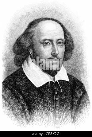 William Shakespeare, 1564-1616, ein englischer Dramatiker, Dichter und Schauspieler, Historischer Kupferstich, Porträt von William Shakespe