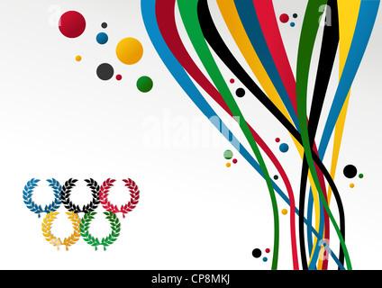 Olympischen Spiele Lorbeer Kranz, Bänder und Ringe auf weißem Hintergrund. Vektor-Datei geschichtet für einfache - Stockfoto