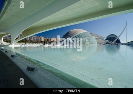 Principe Felipe das Science Museum und die HEMISFERIC, Stadt der Künste und Wissenschaften, Valencia, Spanien - Stockfoto