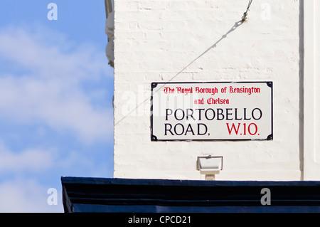Portobello Road Straßenschild, Portobello Market, berühmten ...