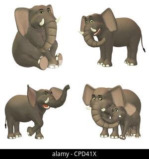 lustige cartoon mutter und baby elefant auf dschungel hintergrund vektor abbildung bild. Black Bedroom Furniture Sets. Home Design Ideas