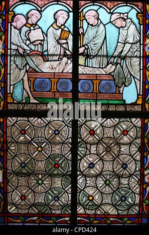 Glasmalerei, Sainte Genevieve Leben, Kloster Notre-Dame de Paris Kathedrale, Paris, Frankreich, Europa - Stockfoto