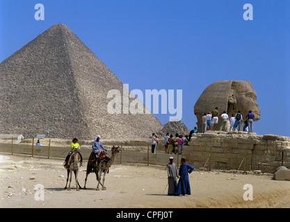 Ägypten. Kairo. Gizeh. Touristen und Kamele. Pyramide und Sphinx. - Stockfoto
