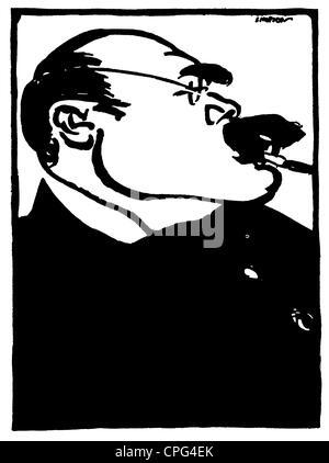 Kipling, Rudyard, 1865-1936, britischer Autor/Schriftsteller, Karikatur von Joseph Simpson, - Stockfoto