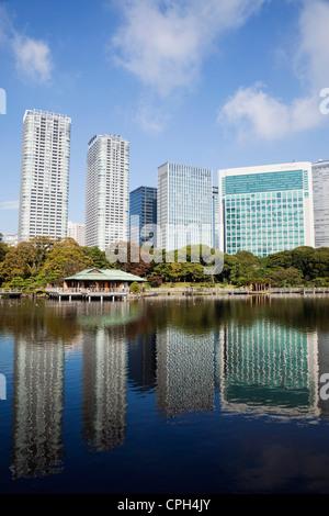 Asien, Japan, Tokyo, Shiodome, Hama-Rikyu, Japanisch, Garten, Garten, Gärten, Architektur, moderne, japanische, - Stockfoto