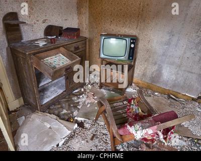 Wohnzimmer in unbewohnten Haus, Scalpay, Schottland - Stockfoto