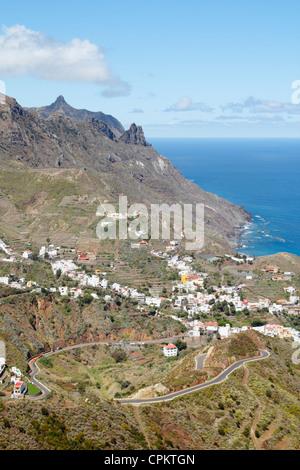 Taganana Dorf an der Küste im Großraum Anaga Gebirge von Teneriffa, Kanarische Inseln, Spanien - Stockfoto
