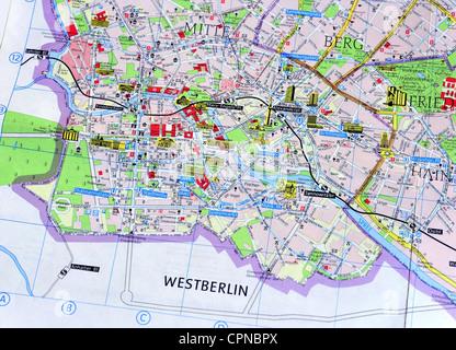 Kartographie, Stadtplan, Ost-Berlin, Detail: Berlin-Mitte, Ostdeutschland, 1980, Additional-Rights - Clearences - Stockfoto