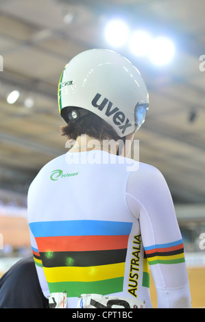 Anna Meares (AUS) bei den Frauen Person-Sprint Halbfinale im Olympic Velodrome London, UCI World Track Cycling Cup. - Stockfoto