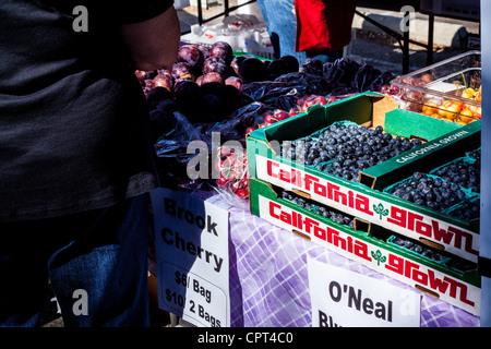 Szenen aus dem Sonntag Ojai Farmers Market, wo alle Produkte und waren aus biologischem Anbau sind - Stockfoto