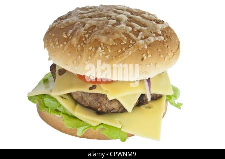 Maßgeschneiderte Cheeseburger isoliert auf weißem Hintergrund - Stockfoto