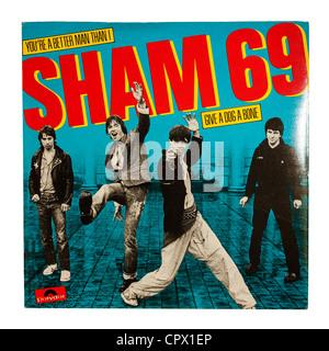 Eine einzige Schallplatte von Sham 69 auf dem Label Polydor auf weißem Hintergrund