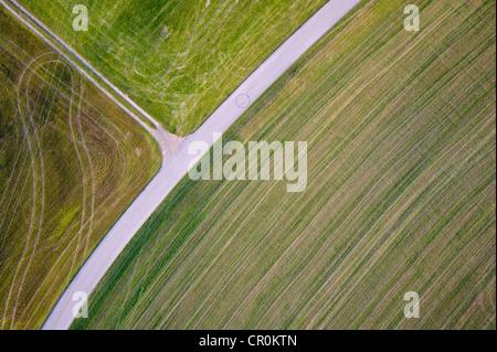 Luftaufnahme, Straße durch die Felder im Chiemgau, Upper Bavaria, Bayern, Deutschland, Europa - Stockfoto