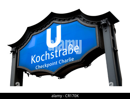 Berlin, Deutschland. Kochstraße U-Bahn (u-Bahn) Station Zeichen. Nächste Station zum Checkpoint Charlie. Cut-out - Stockfoto