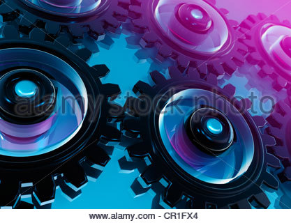 Digital generiert, miteinander verbundenen Zahnräder und Getriebe auf blauem Hintergrund - Stockfoto