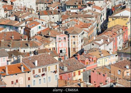 Blick über die Dächer von Rovinj, Istrien, Kroatien, Europa - Stockfoto