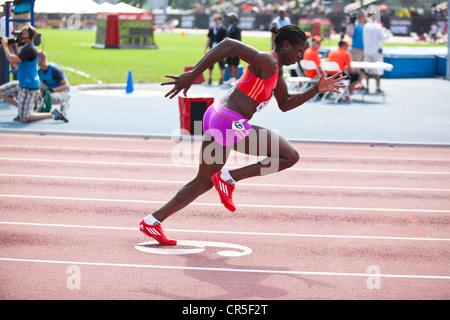 Christine Ohuruogu (GBR) im Wettbewerb bei der Frauen 400m in NYC Grand Prix 2012, Icahn Stadium, Randall Island, - Stockfoto