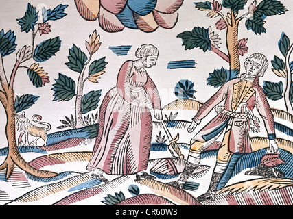 Ovid (Publius Ovidius Naso), 43 v. Chr. - 17 n. Chr., römischer Autor/Schriftsteller, Werke, 'Metamorphosen', 'Pyramus - Stockfoto