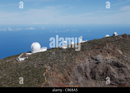 Spanien, La Palma, Ansicht des Observatoriums zeigen auf Roque de Los Muchachos - Stockfoto