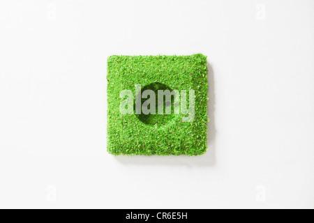 Steckdose mit Rasen vor weißem Hintergrund bedeckt - Stockfoto