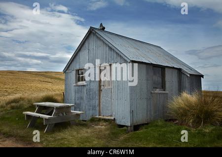 Töpfer Hütten, historische Goldfelder, alten Mann Range, Southland, Südinsel, Neuseeland - Stockfoto
