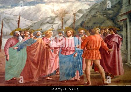 Das Tribut-Geld von Masaccio Brancacci Kapelle Santa Maria del Carmine Florenz Italien - Stockfoto
