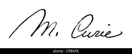 Curie, Marie, 7.11.1867 - 4.7. 1934 französischer Physiker, polnischer Abstammung, Unterschrift, - Stockfoto