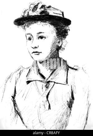 Curie Marie, 7.11.1867 - 4.7.1934, französischer Physiker, polnischer Herkunft, halber Länge, als Student, Zeichnung, - Stockfoto